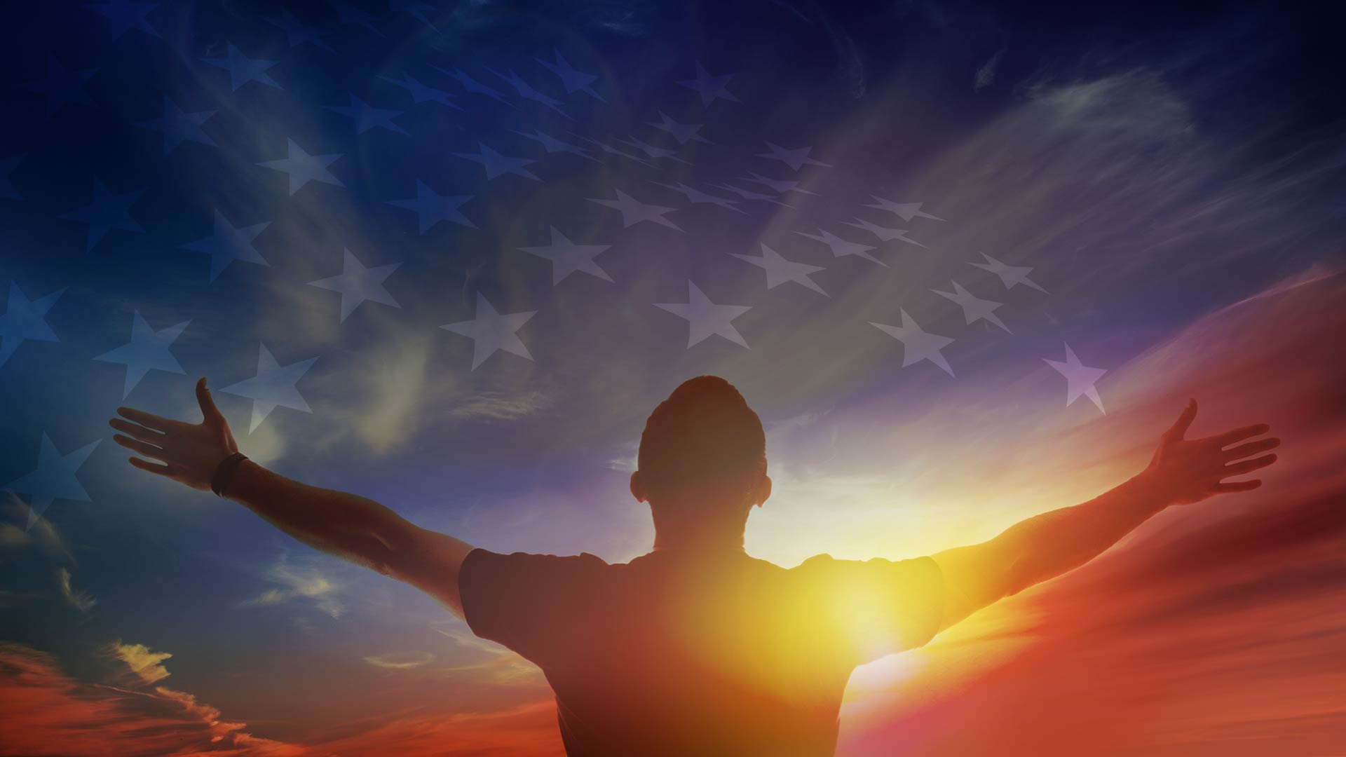 Man Praising God Towards the Sky and US Flag Overlays the Clouds