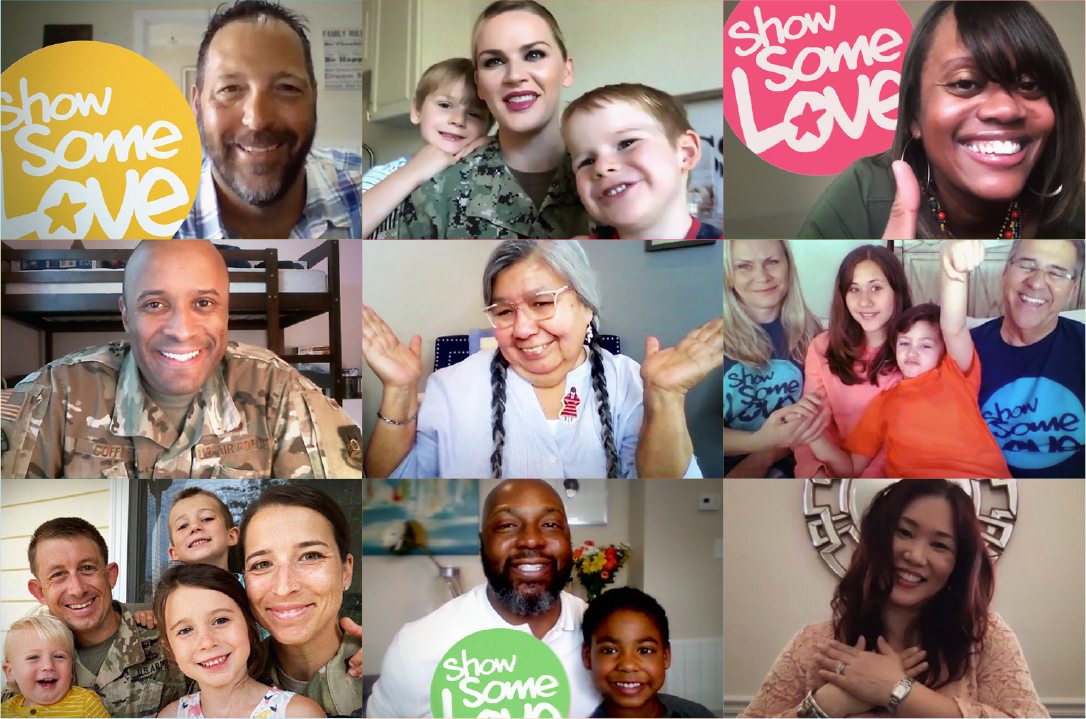 Military and Federal Families Holding Show Some Love Signs